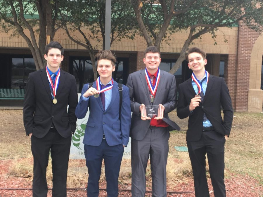 Seniors+Sam+Pierce%2C+Kaden+Taylor%2C+Tristen+Meason%2C+and+Byron+Anderson+placed+first+in+Marketing+and+are+headed+to+the+state+competition.