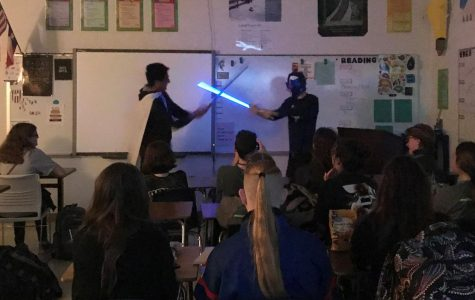 AP English 4 students watch their classmates perform Hamlet as a sci-fi epic.