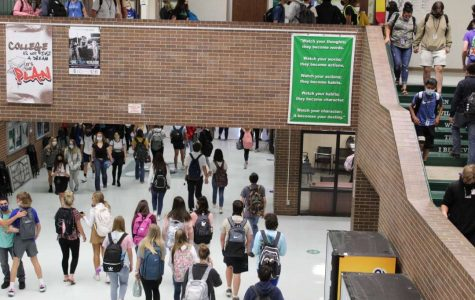 Students walking to their next classes during passing period.