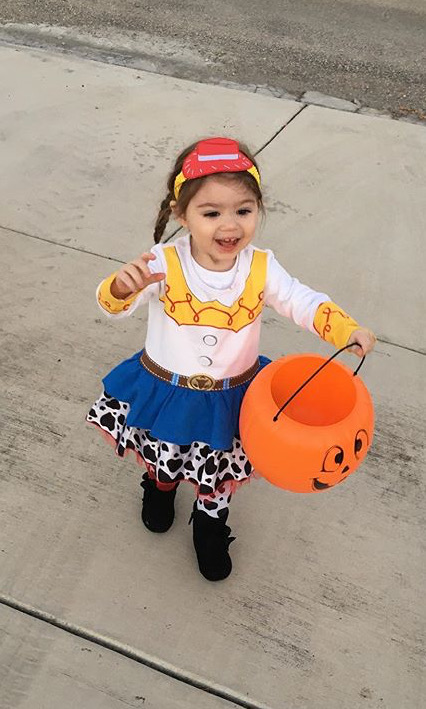 2 year old Addison Pardue trick or treating.