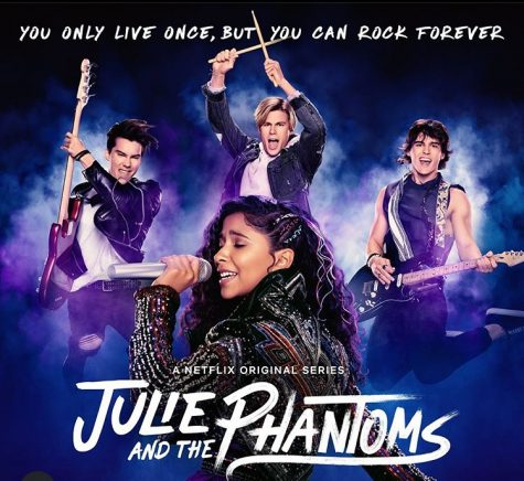Poster for the Julie and the phantoms tv series on Netflix.