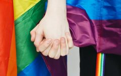 Two people are holding hands with LGBTQ+ pride flags seen behind them.