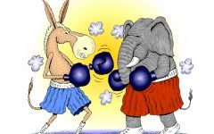 Republican elephant boxing Democrat donkey