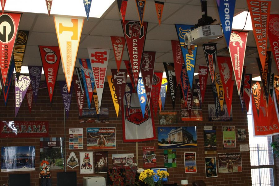 The college banners inside the COOL Counselors office/room.