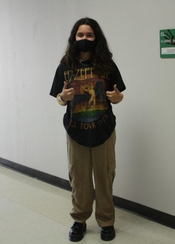 Junior Sophia Tucker rocking her corduroy mom jeans, Dr. Martens, and her vintage band graphic t-shirt.