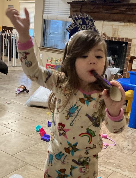 Addison Pardue celebrates the New Year.