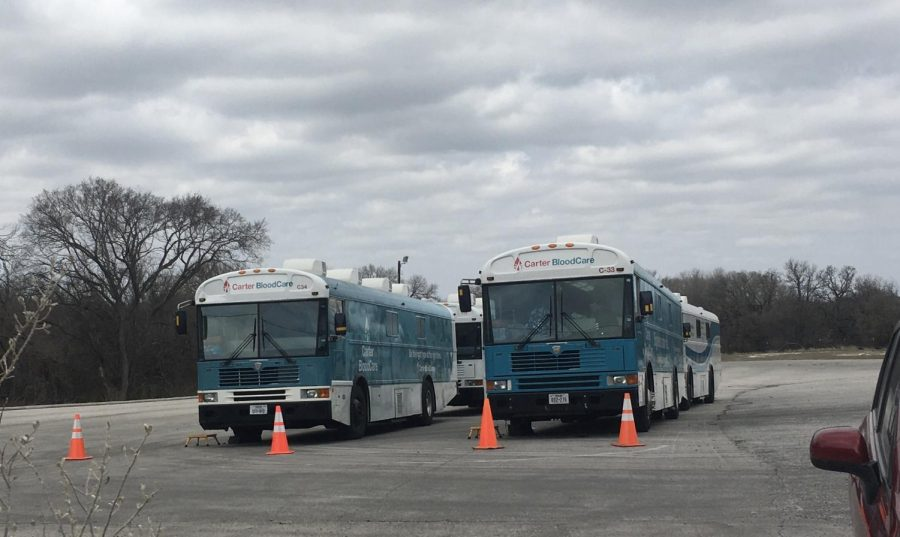 The Carter Blood care buses where students go to donate blood.
