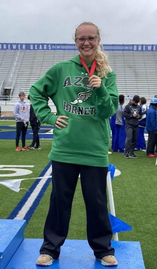 Senior Emily Cole at the Track Area Meet.