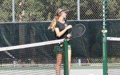 Tennis player during a match.