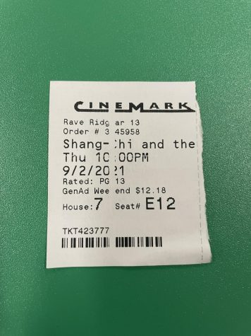 Cinemark ticket stub for Shang-Chi and the Legend of the Ten Rings